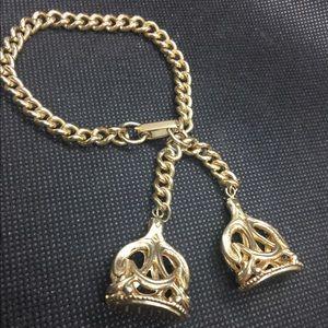 Victorian Revival Seal Fob Charm Bracelet Gold